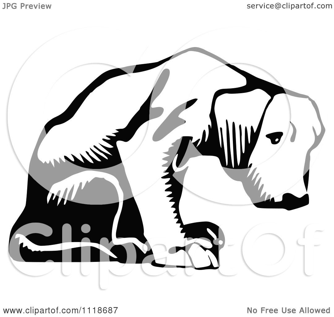 Clipart Of A Retro Vintage Black And White Puppy Dog