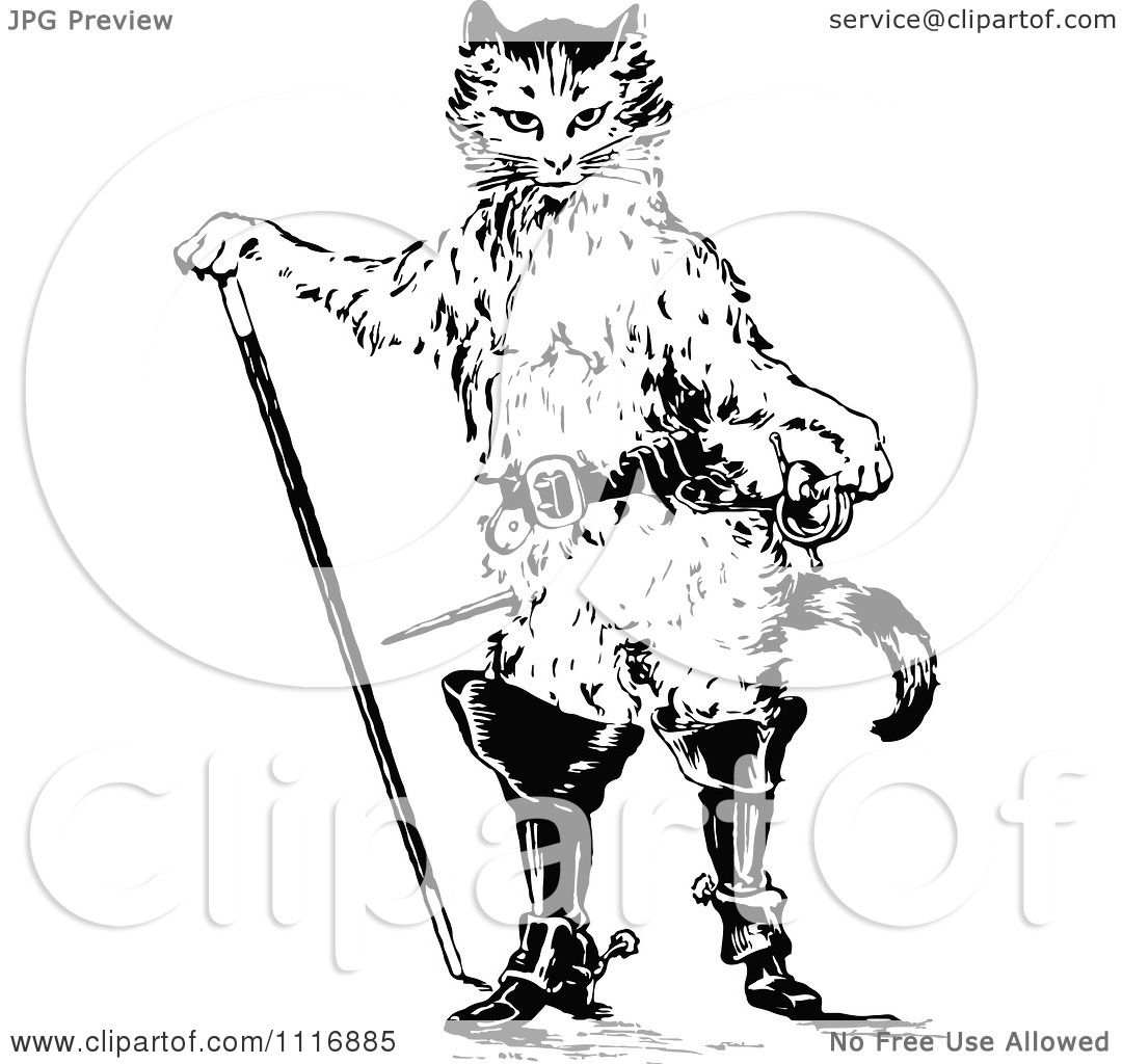 Clipart Of A Retro Vintage Black And White Puss In Boots
