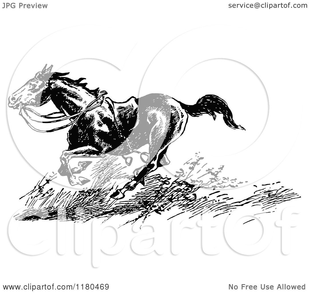Clipart Of A Retro Vintage Black And White Riderless Horse