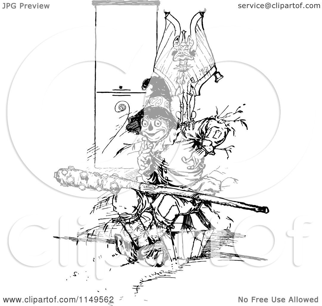 Clipart Of A Retro Vintage Black And White Scarecrow And Evil Flying Monkey