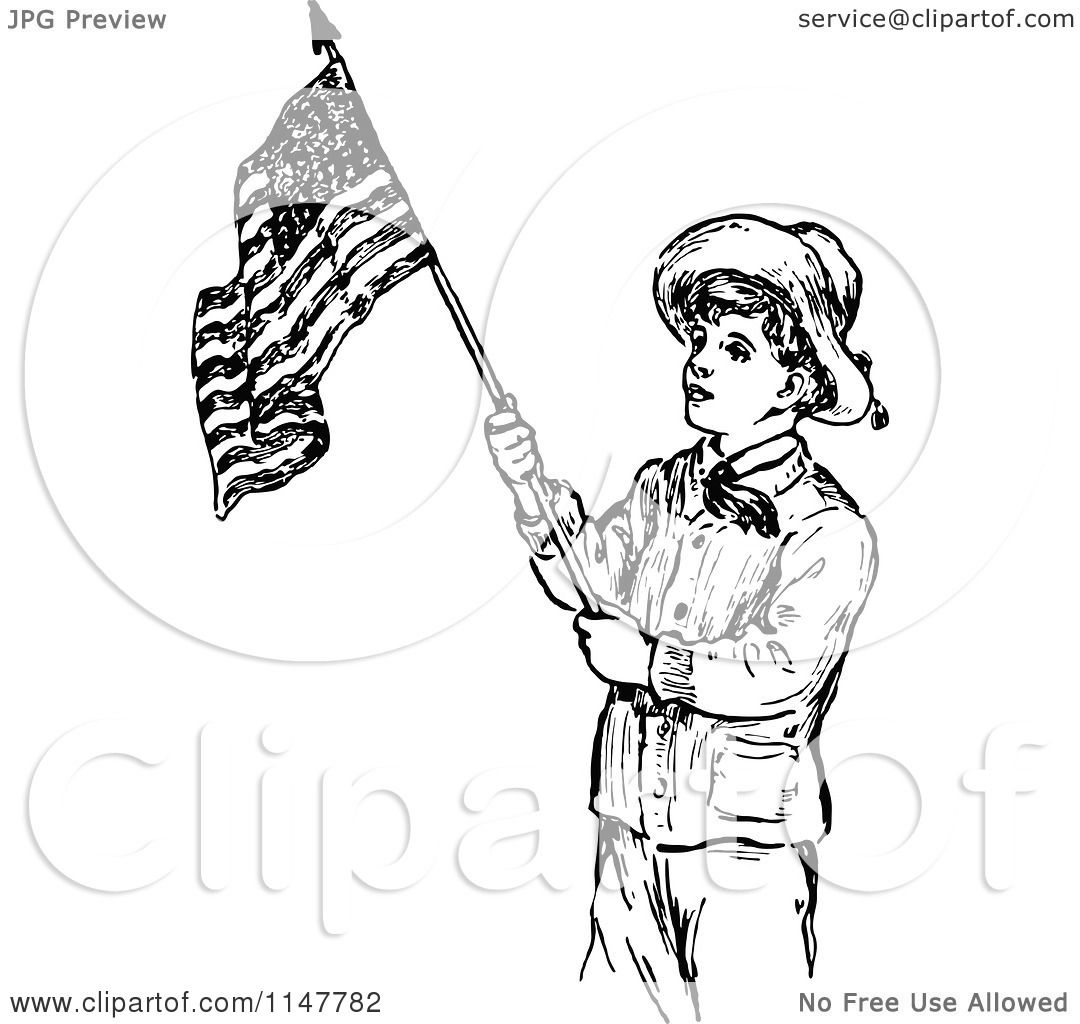 Clipart Of A Retro Vintage Black And White Scout Boy With An American Flag