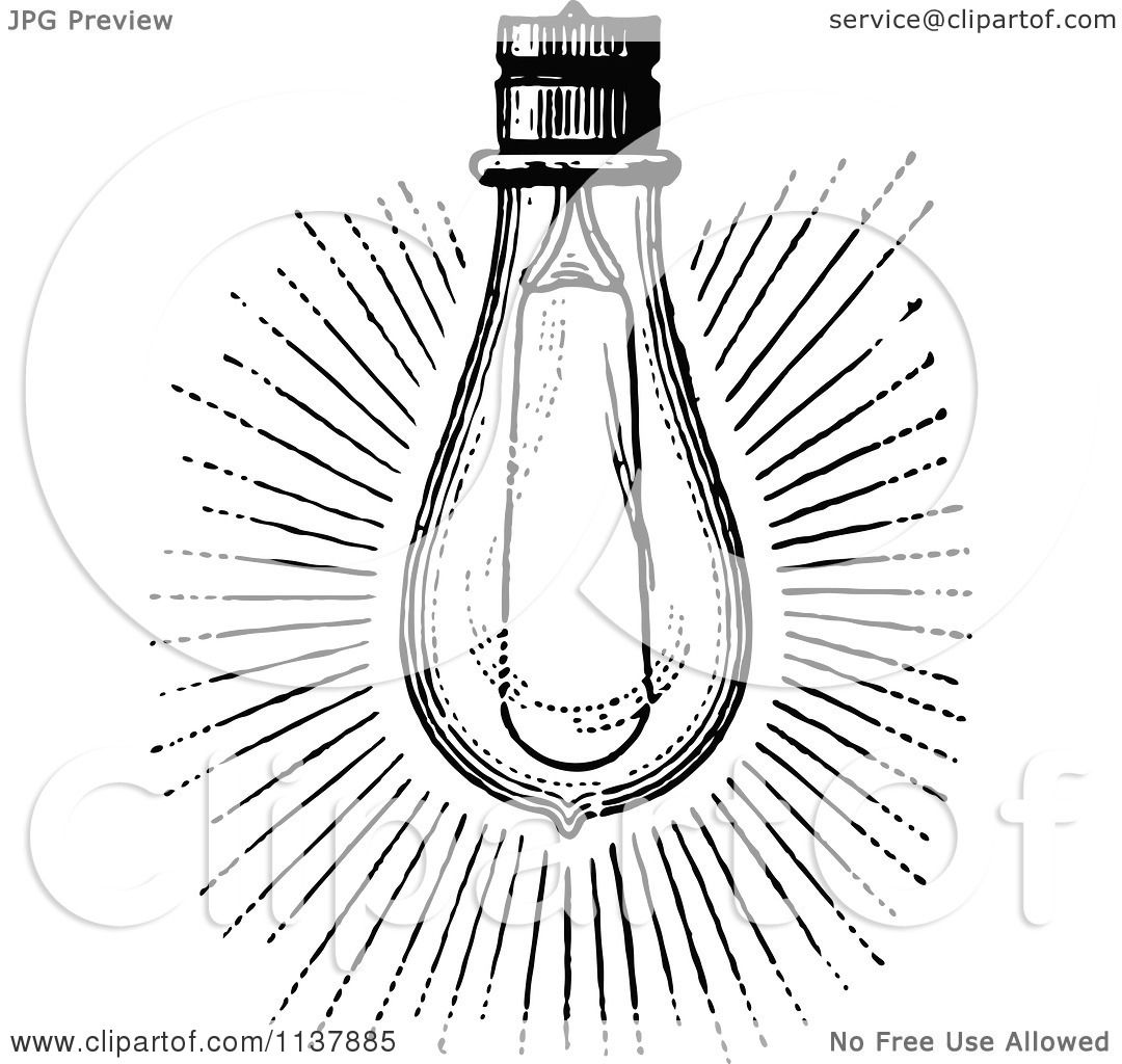 Clipart Of A Retro Vintage Black And White Shining Light
