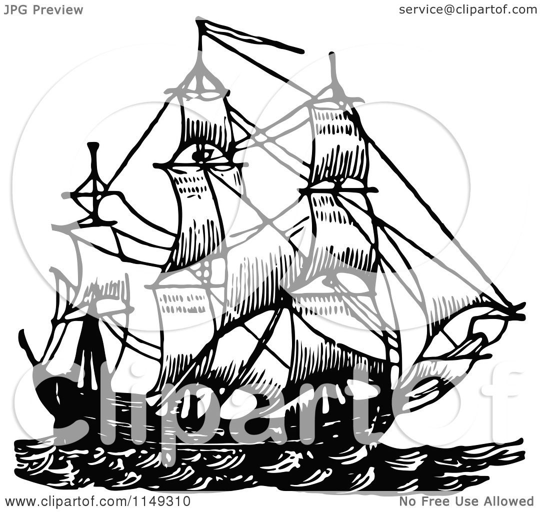 Clipart Of A Retro Vintage Black And White Ship