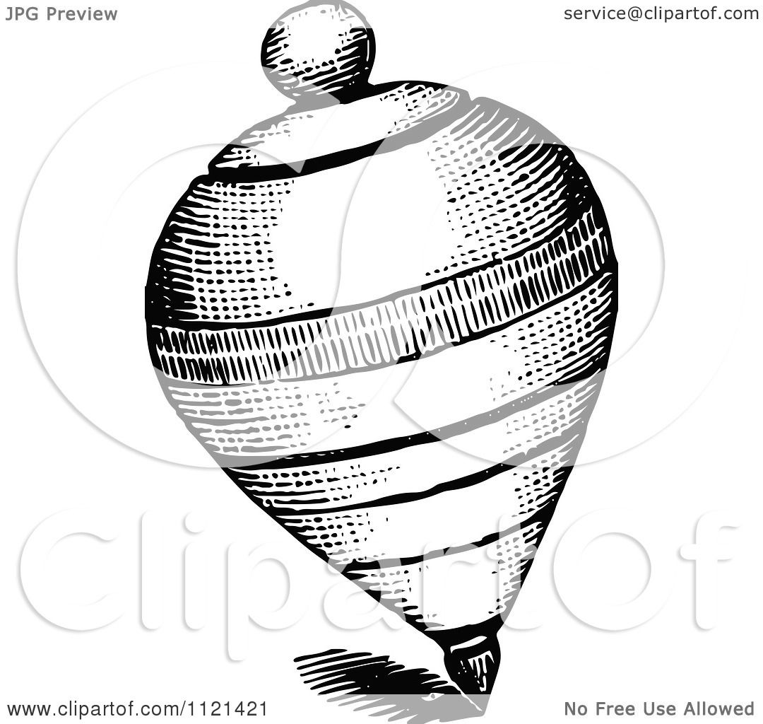 Clipart Of A Retro Vintage Black And White Spinning Top