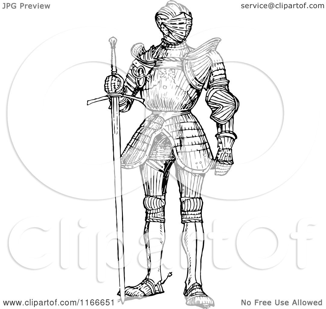 Clipart Of A Retro Vintage Black And White Suit Of Armour