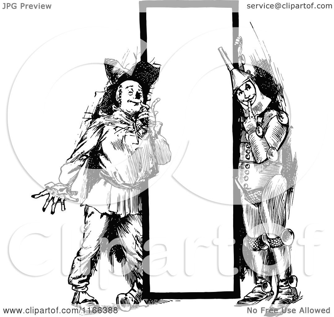 Clipart Of A Retro Vintage Black And White Tin Man And Scarecrow By A Sign