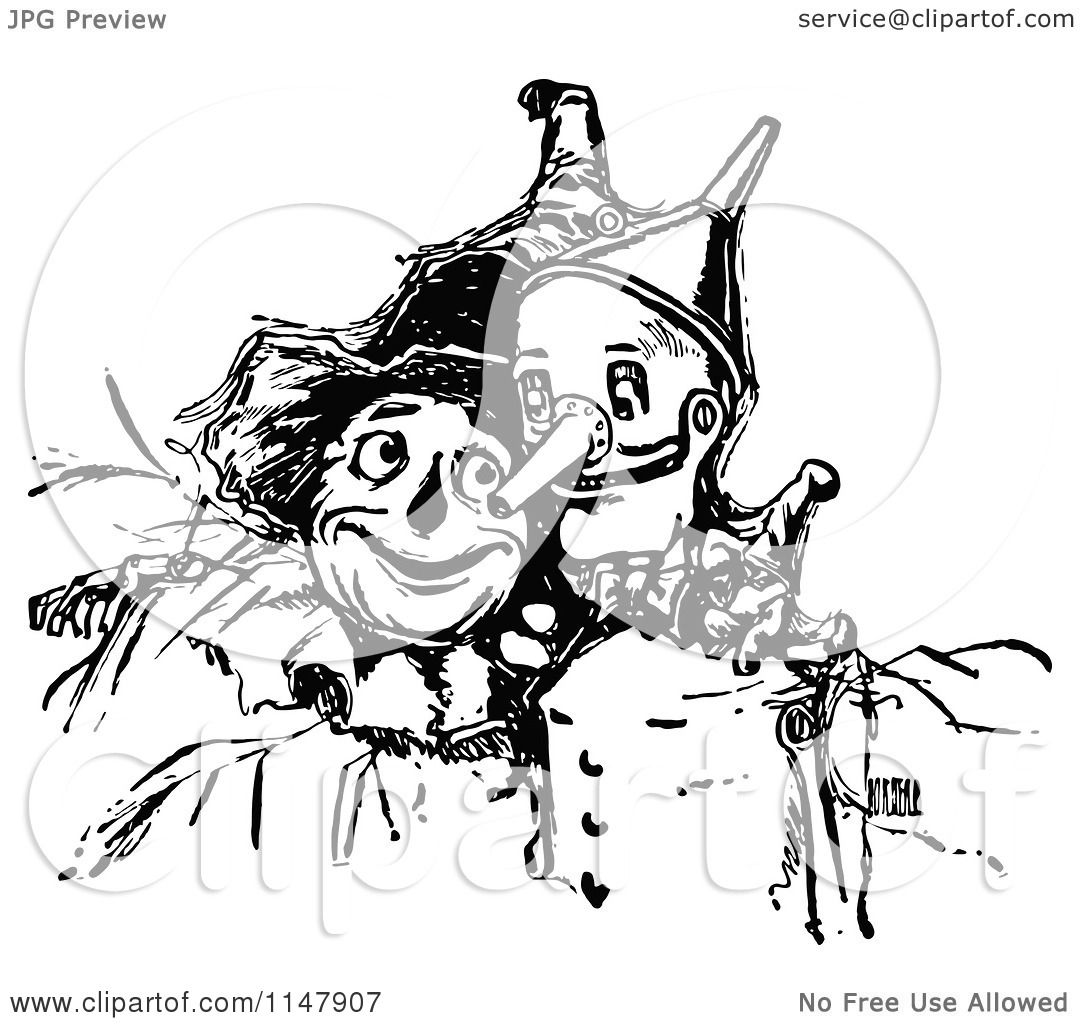 Clipart Of A Retro Vintage Black And White Tin Man And Scarecrow
