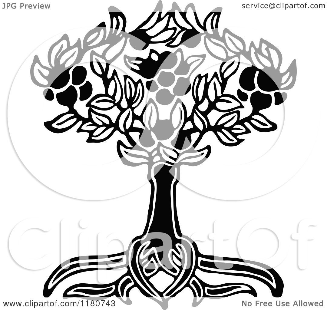 Clipart Of A Retro Vintage Black And White Tree And Roots