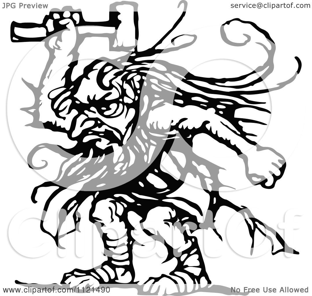 Clipart Of A Retro Vintage Black And White Troll With An
