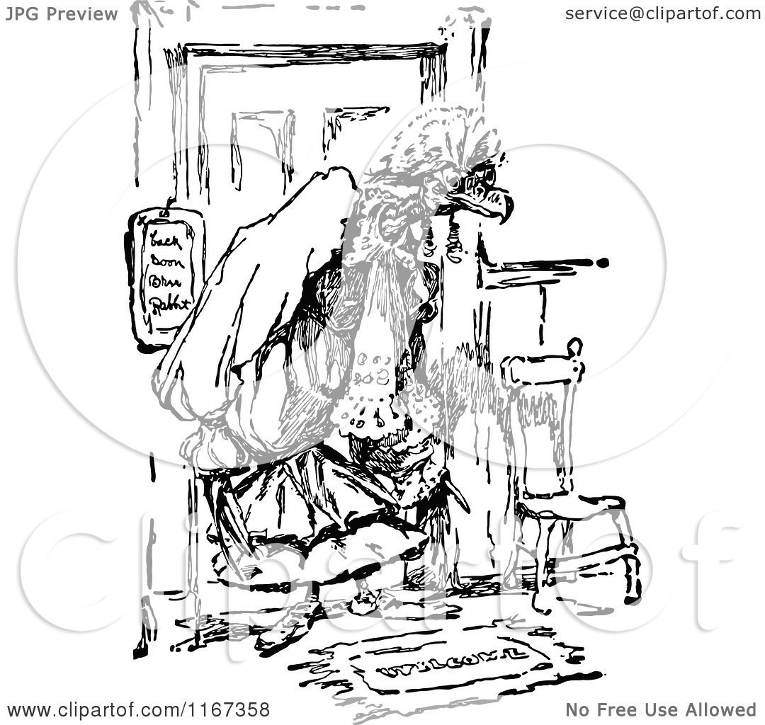 Clipart Of A Retro Vintage Black And White Vulture In Clothes