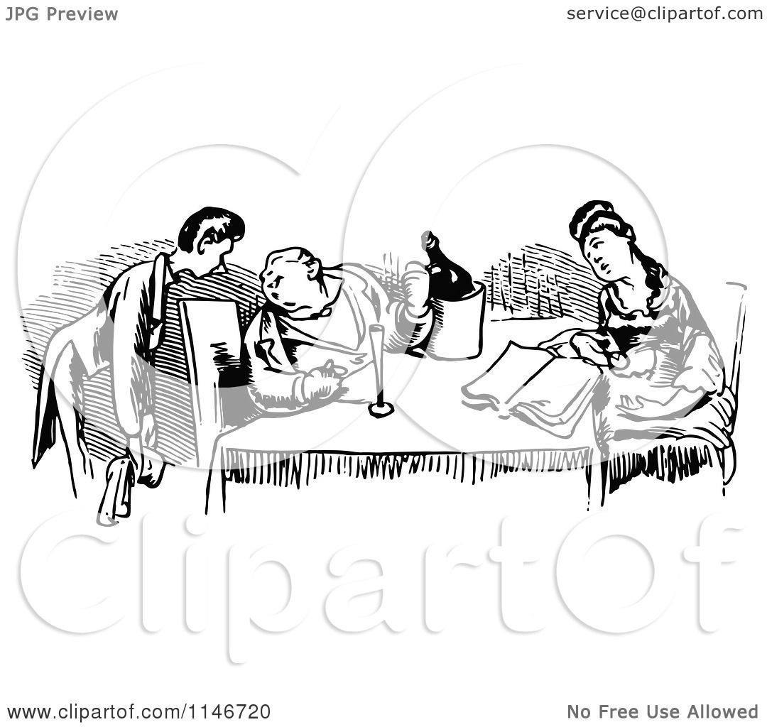 Clipart Of A Retro Vintage Black And White Waiter And