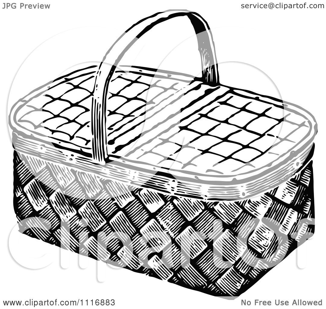Clipart Of A Retro Vintage Black And White Wicker Picnic Basket