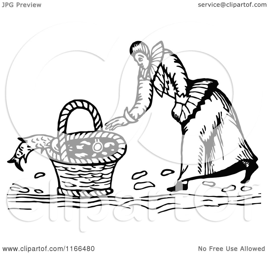 Clipart Of A Retro Vintage Black And White Woman Basket