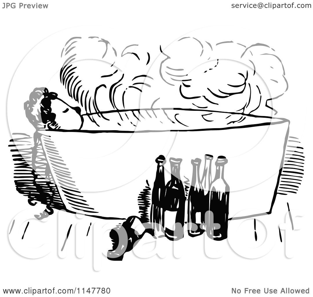 Clipart Of A Retro Vintage Black And White Woman Taking A Bath