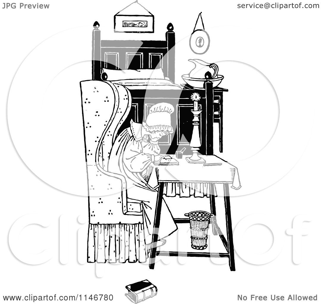 Clipart Of A Retro Vintage Black And White Woman Writing