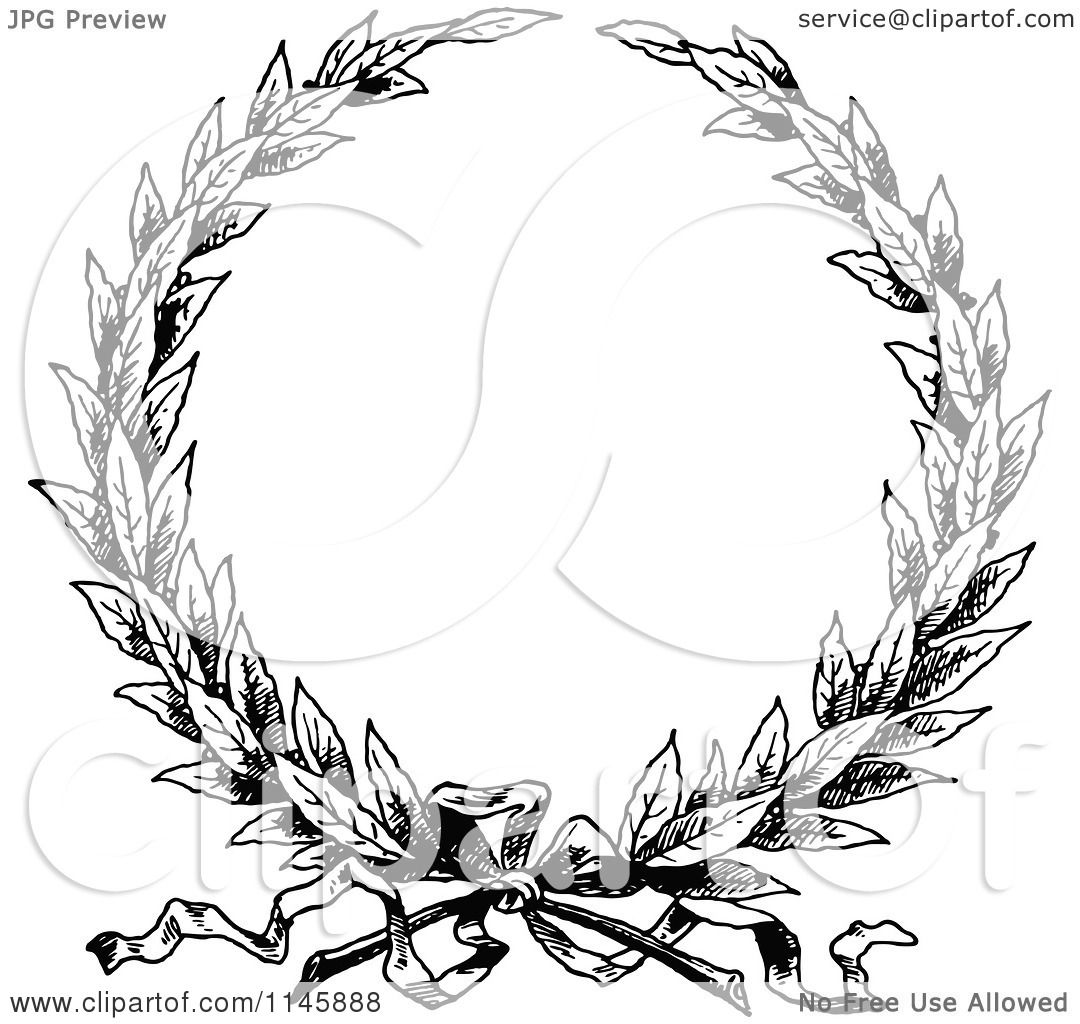 Clipart Of A Retro Vintage Black And White Wreath