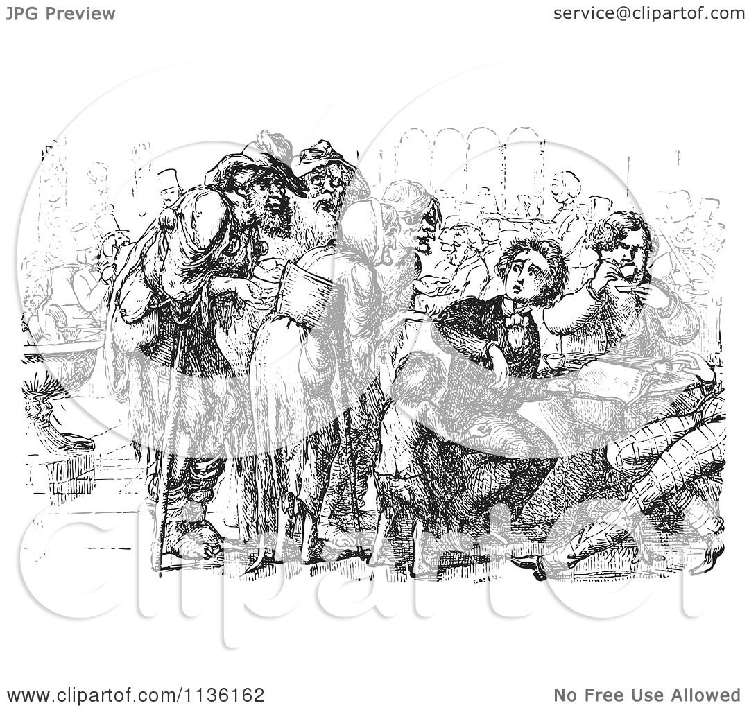 Clipart Of A Retro Vintage Crowd Of Beggars And Foreigner