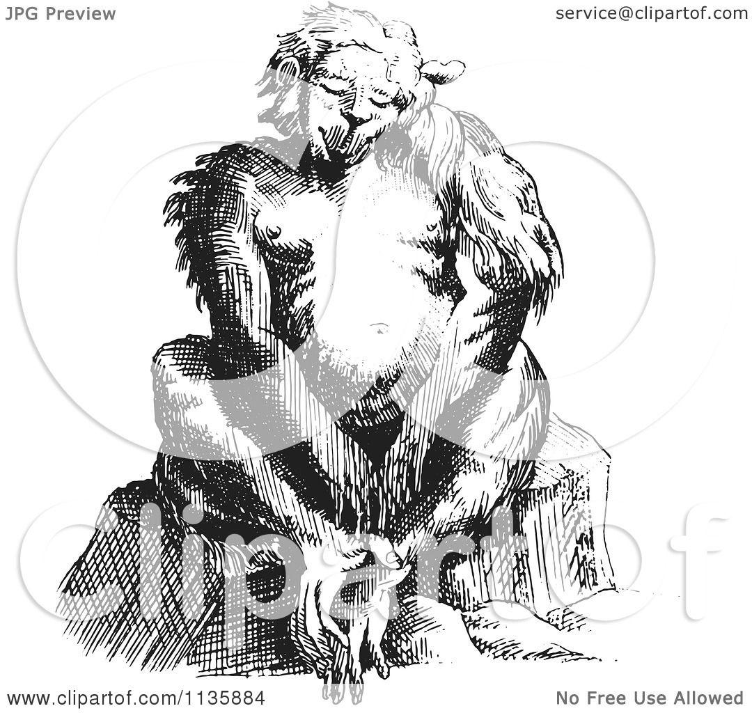 Clipart Of A Retro Vintage Fantasy Ape Creature Sitting