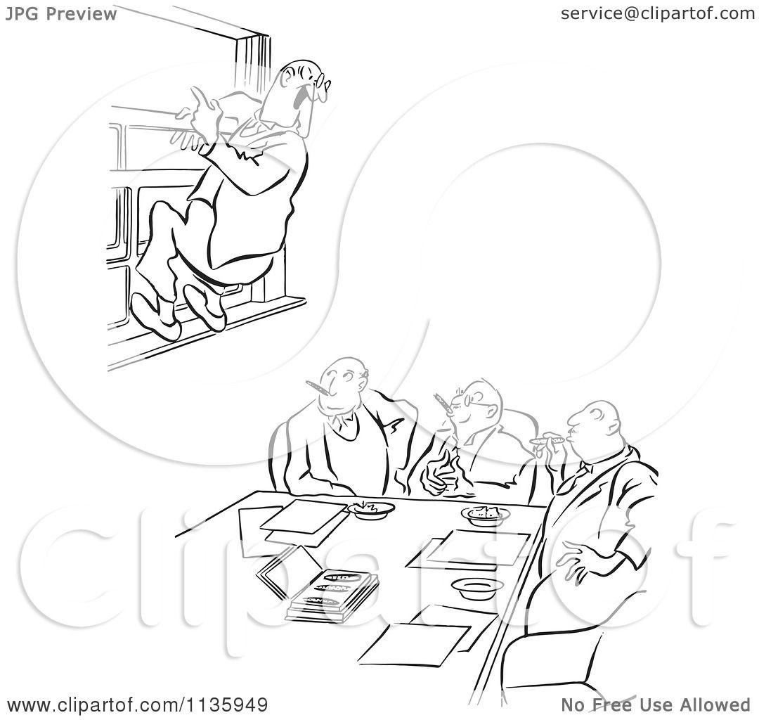 Clipart Of A Retro Vintage Office Worker Man Leaping Out A Window At A Meeting Black And White