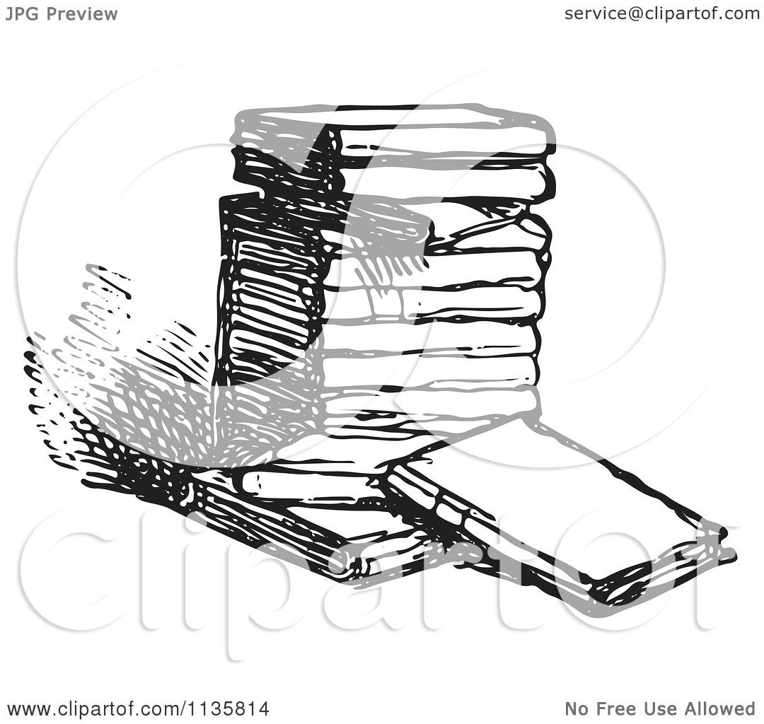 Clipart Of A Retro Vintage Stack Of Books In Black And