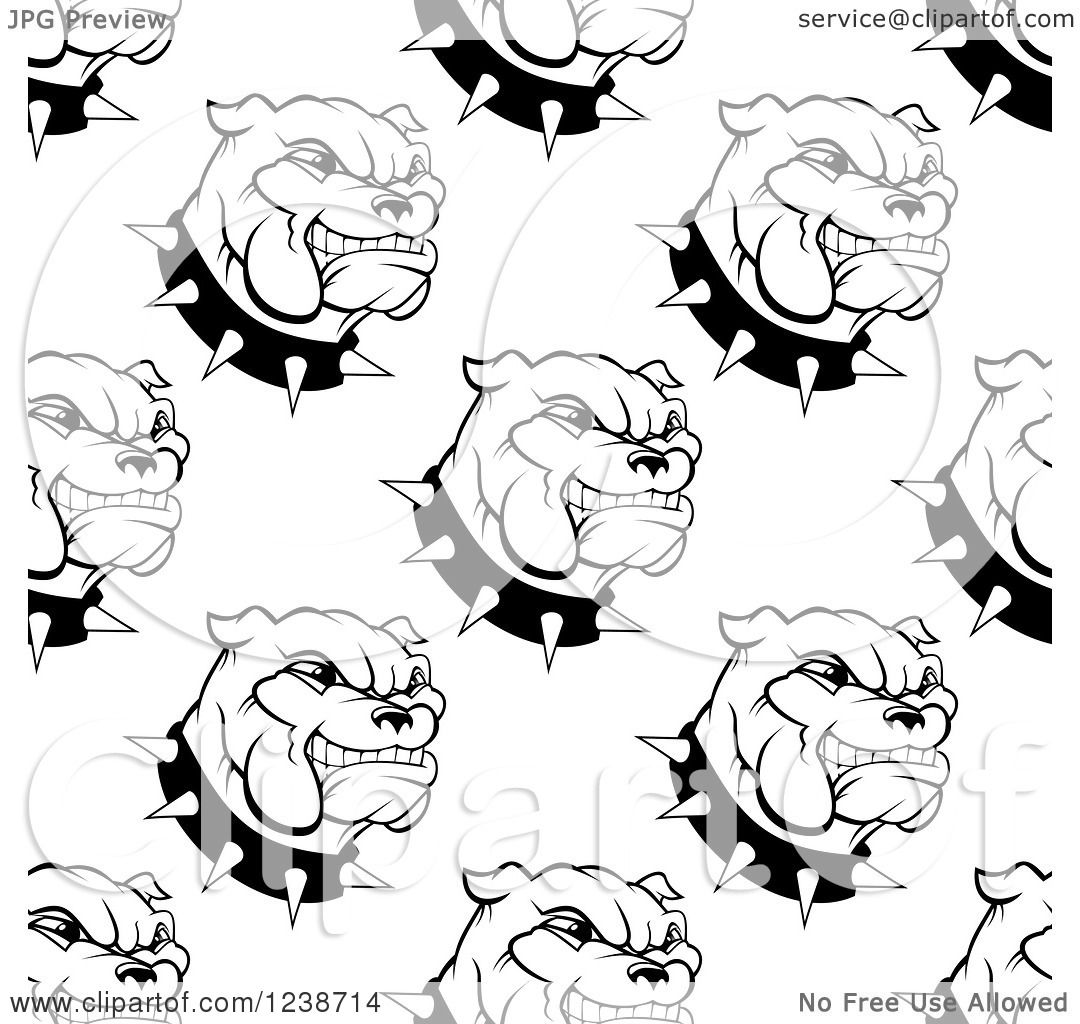 Clipart Of A Seamless Background Pattern Of Black And White Bulldogs And Spiked Collars