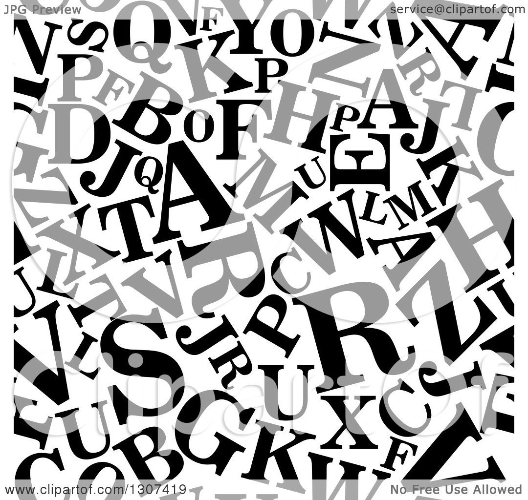 Clipart Of A Seamless Background Pattern Of Black And White Capital Alphabet Letters