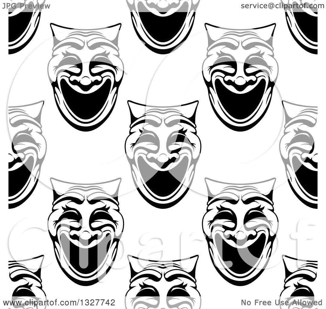 Clipart Of A Seamless Background Pattern Of Black And White Comedy Theater Masks