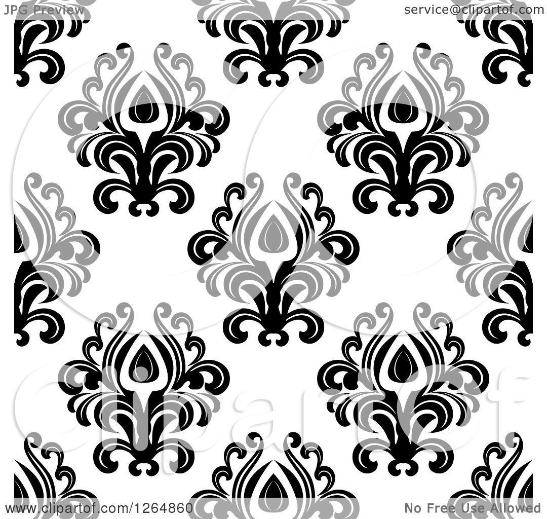 Clipart Of A Seamless Background Pattern Of Black Floral Damask On White