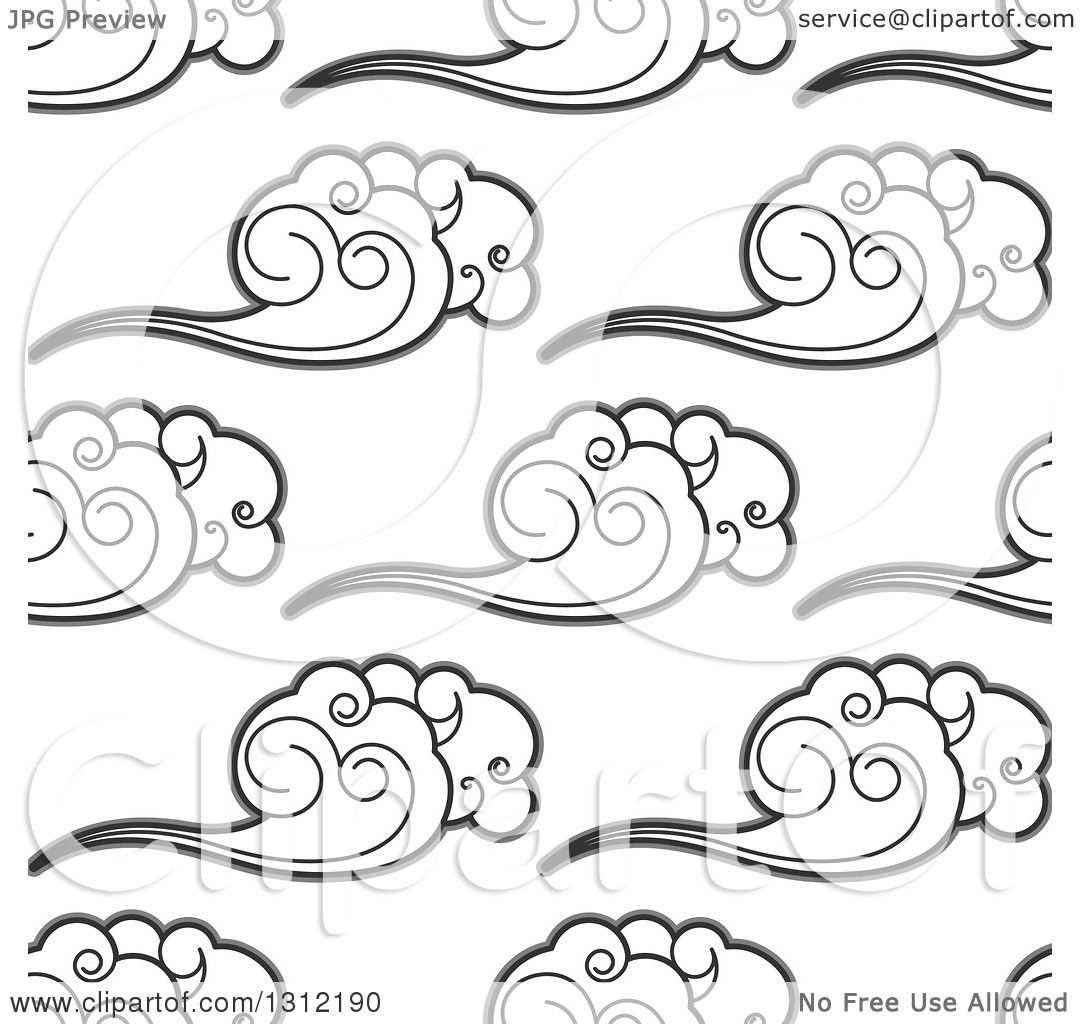 Clipart Of A Seamless Background Pattern Of Grayscale Clouds