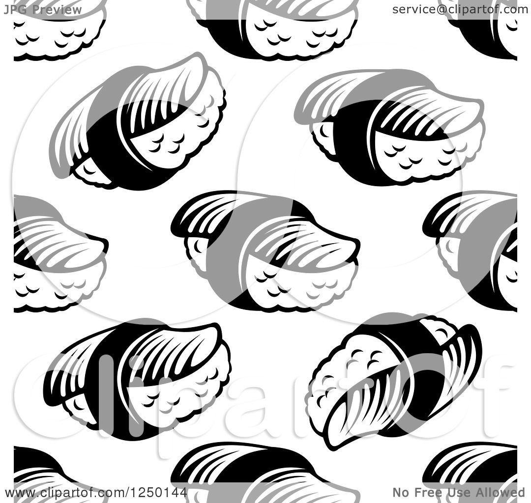 Clipart Of A Seamless Background Pattern Of Sushi In Black