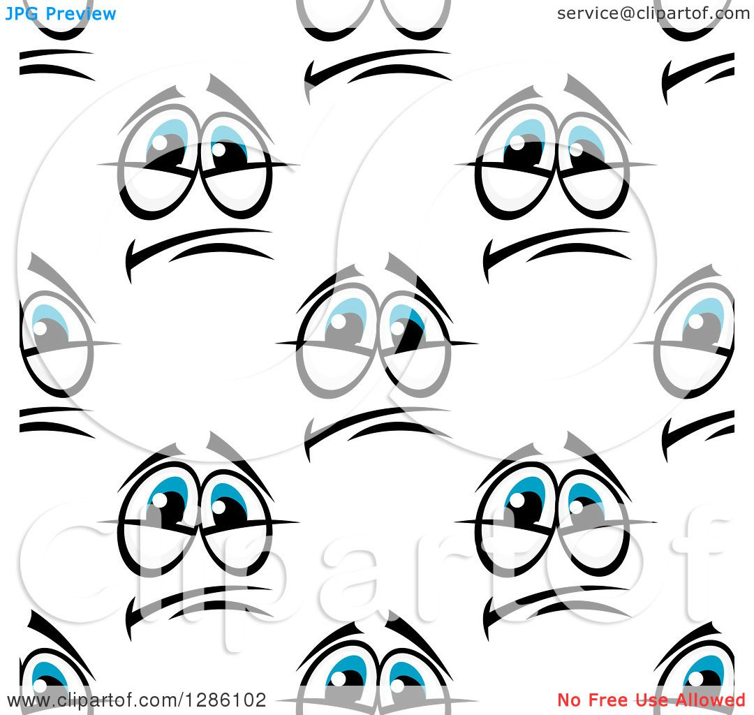 Clipart Of A Seamless Pattern Background Of Pleading Blue Eyes