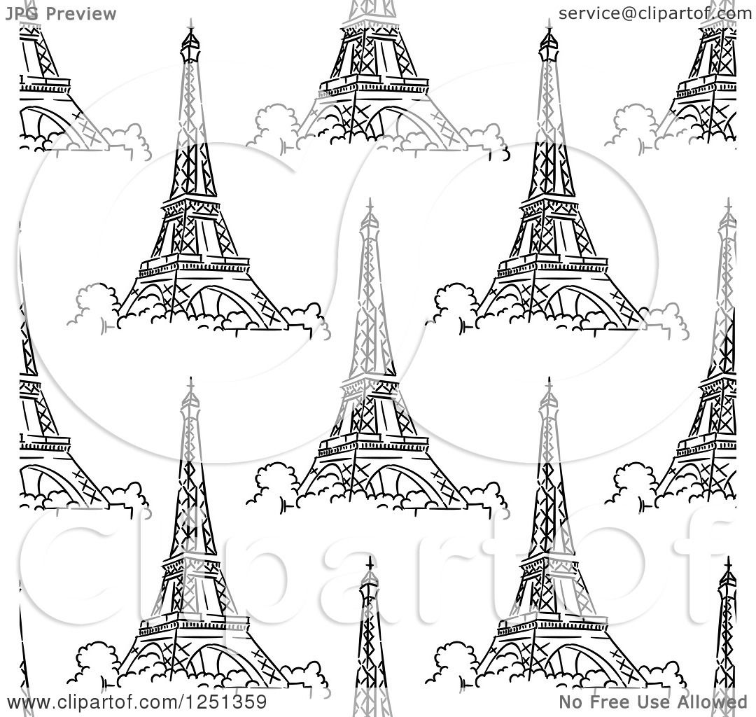 Clipart Of A Seamless Sketched Eiffel Tower Background