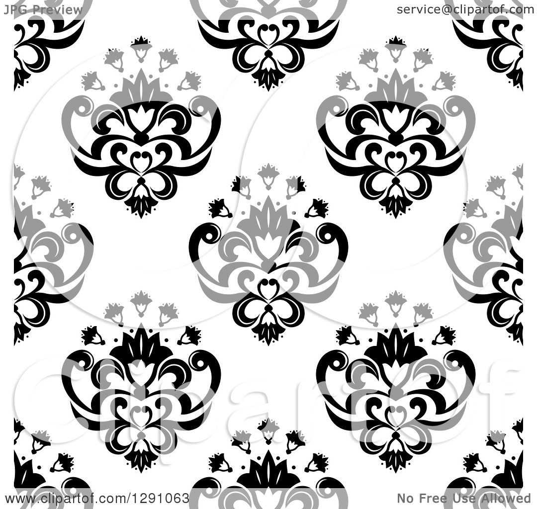 Clipart Of A Seamless Vintage Black And White Floral Pattern Background