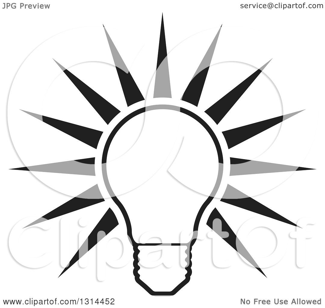 Clipart Of A Shining Black And White Bright Light Bulb And