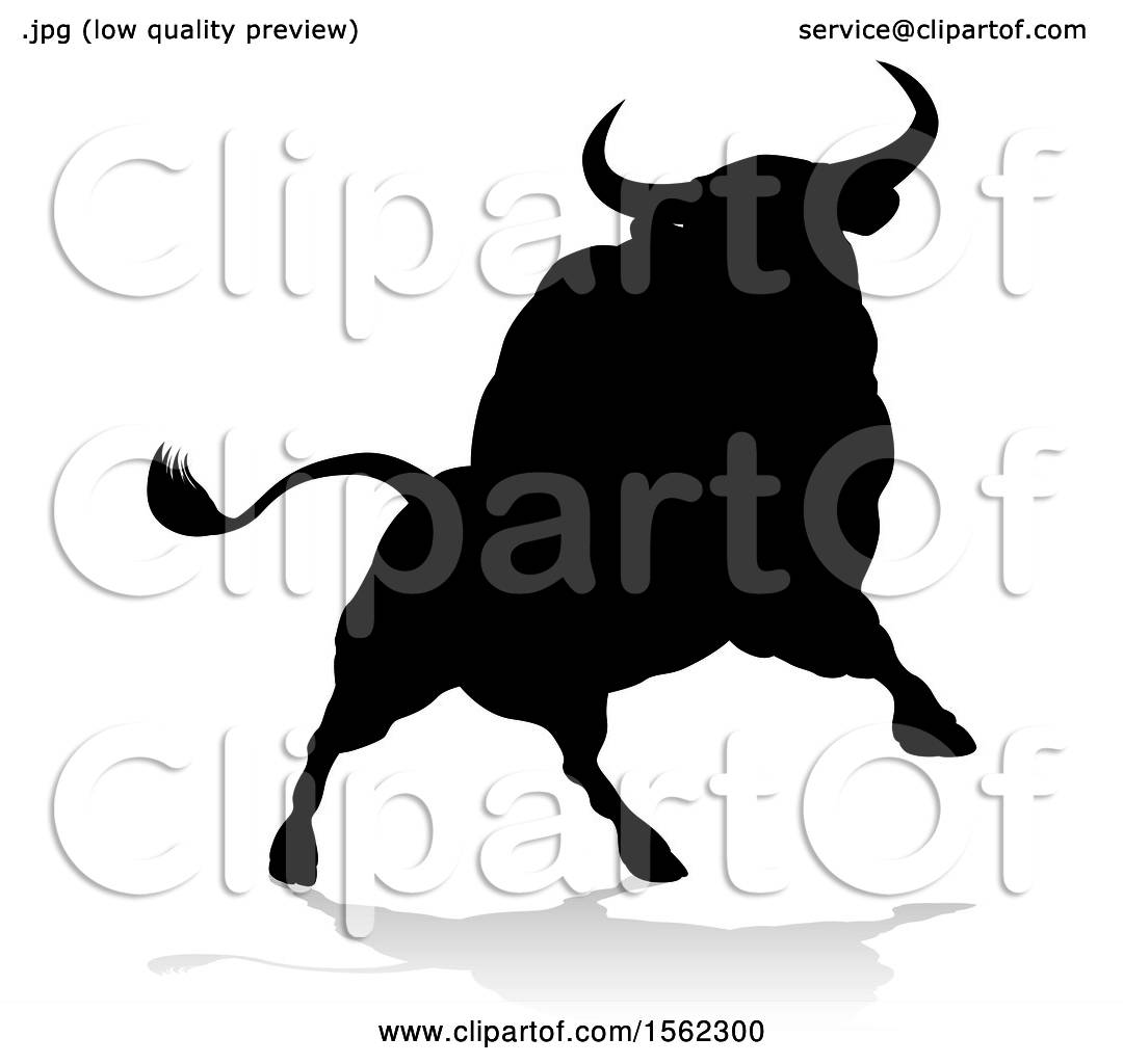 Clipart Of A Silhouetted Black Bull With A Shadow On A