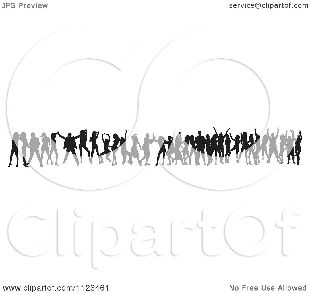 Clipart Of A Silhouetted Crowd Of Dancers 20