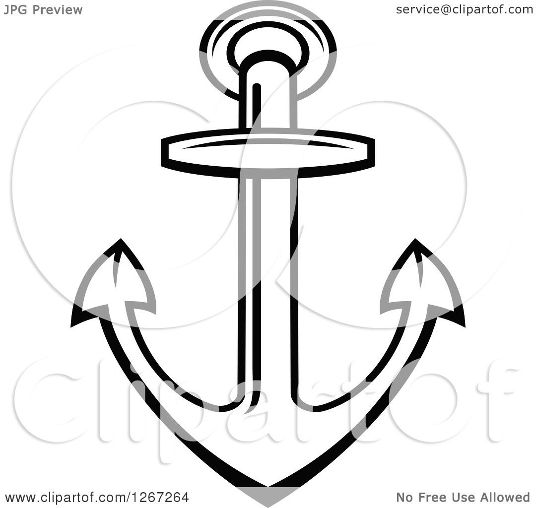 Clipart Of A Simple Outlined Black And White Nautical