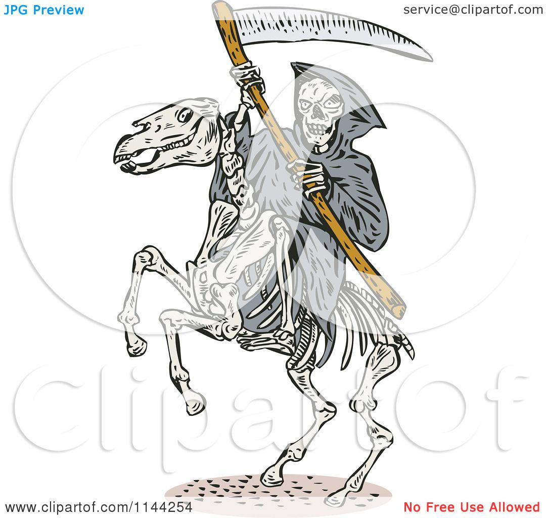 Clipart Of A Skeleton Grim Reaper With A Scythe On A Horse