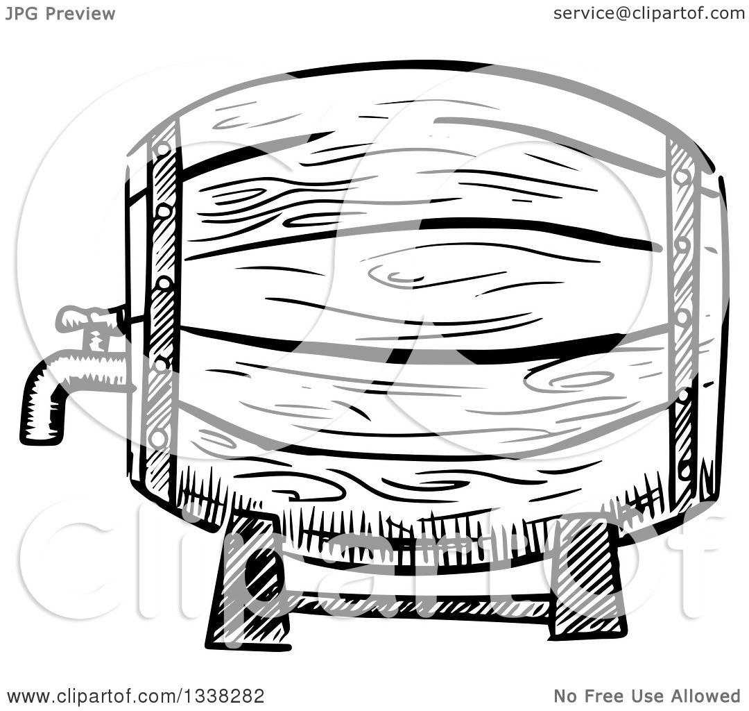 Clipart Of A Sketched Black And White Beer Keg
