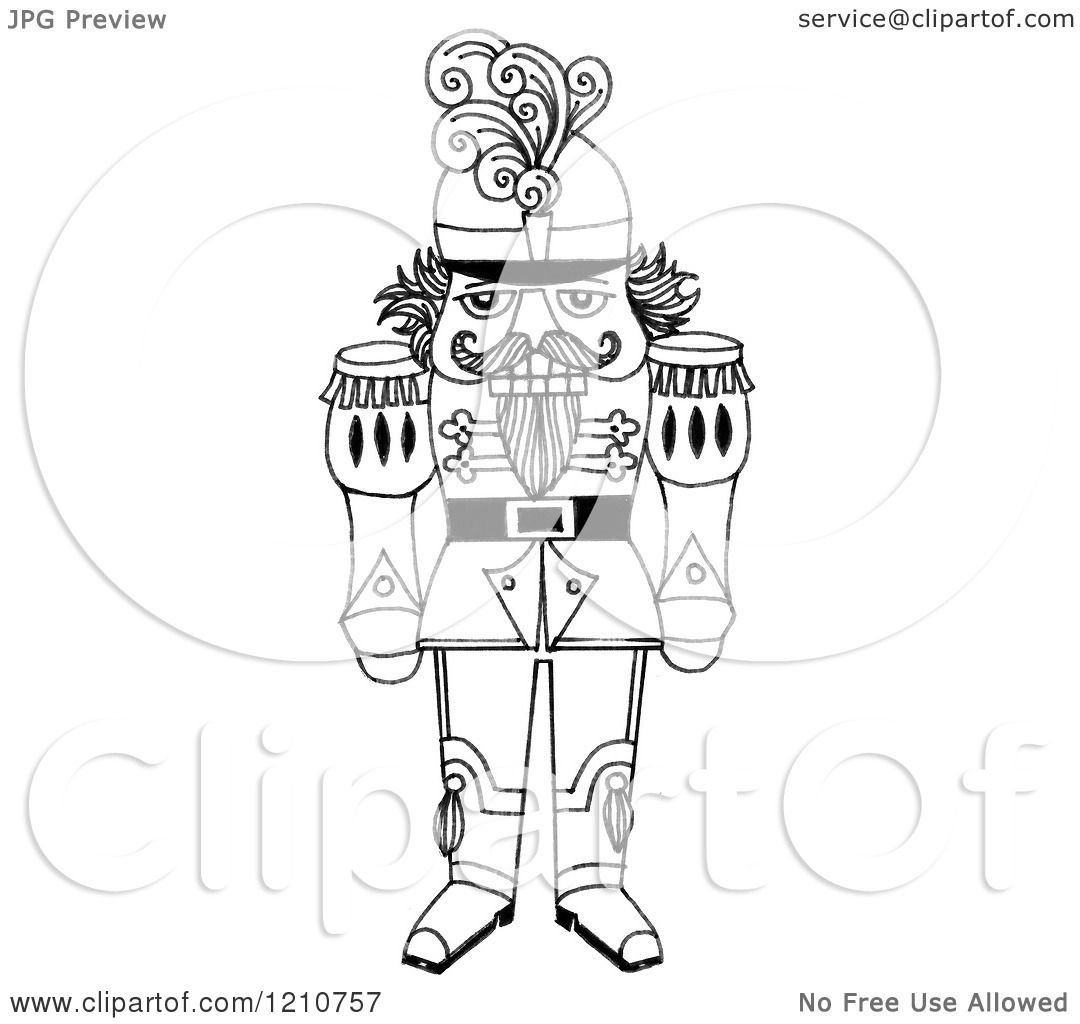 Clipart Of A Sketched Black And White Christmas Nutcracker