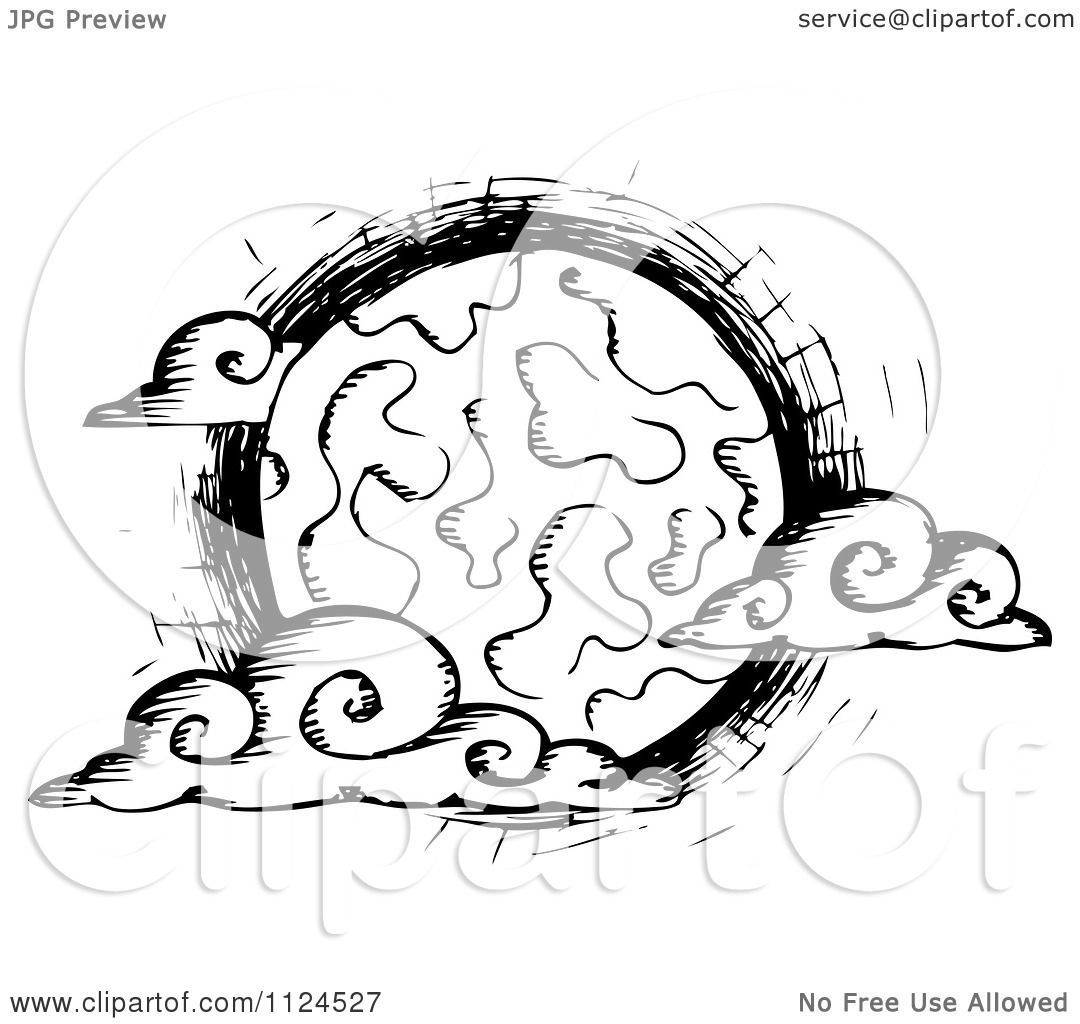 Clipart Of A Sketched Black And White Creepy Full Moon