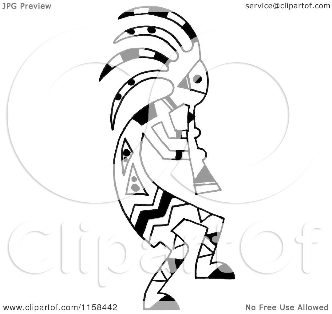 Clipart Of A Sketched Black And White Kokopelli Flute