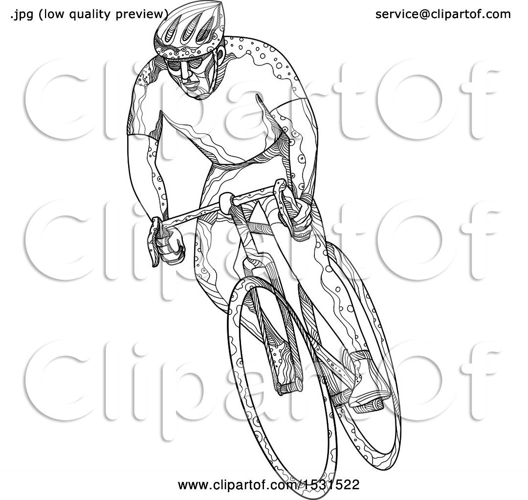 Clipart Of A Sketched Cyclist Racing On A Bicycle