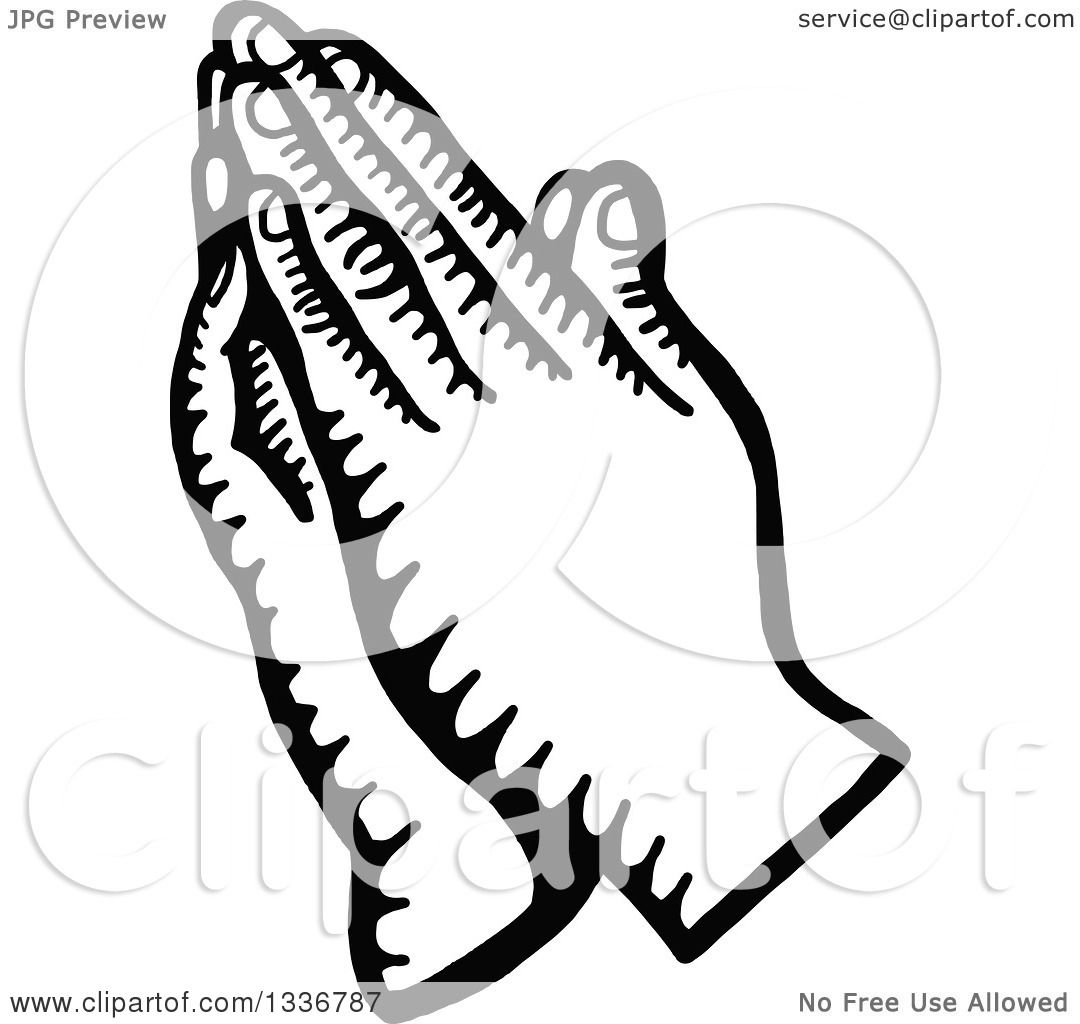 Clipart Of A Sketched Doodle Of Black And White Praying Hands
