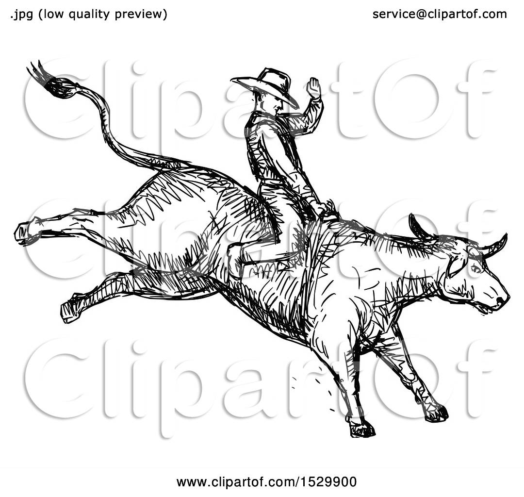 Clipart Of A Sketched Rodeo Cowboy On A Bucking Bull
