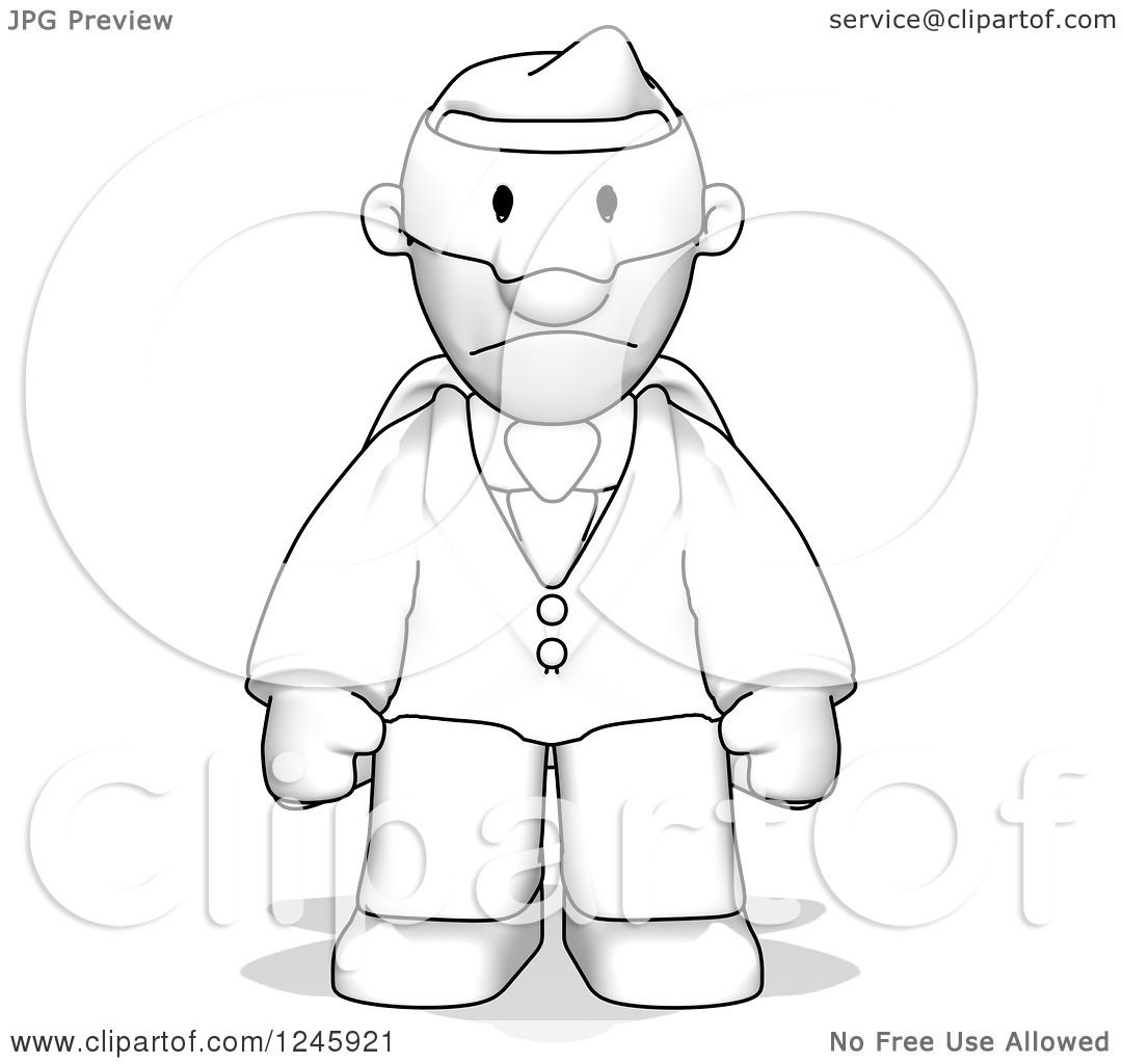 Clipart Of A Sketched Super Business Man Pouting
