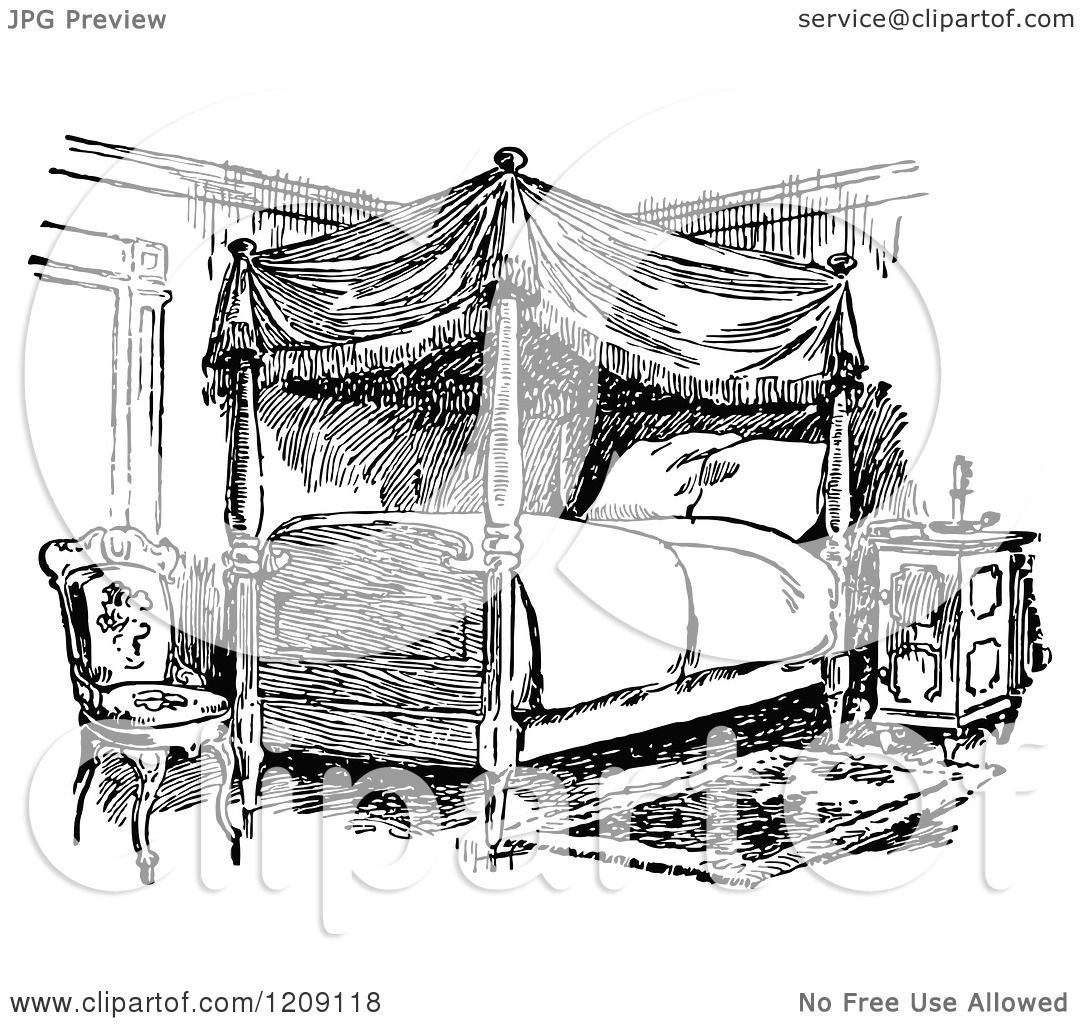 Clipart Of A Vintage Black And White Bedroom