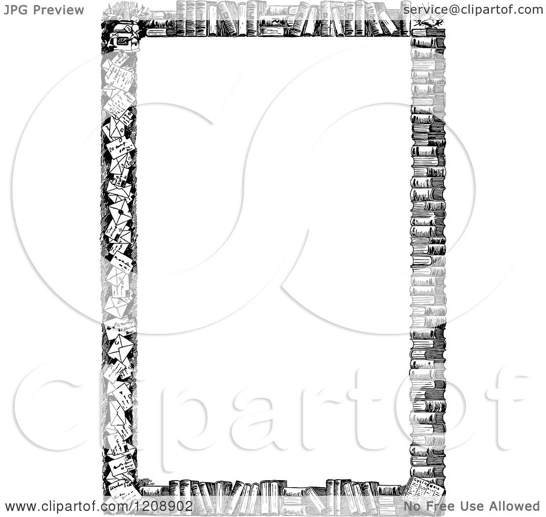 Clipart Of A Vintage Black And White Border Of Books