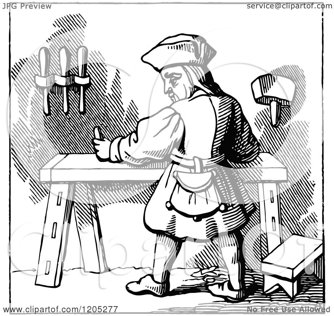 Clipart Of A Vintage Black And White Carpenter