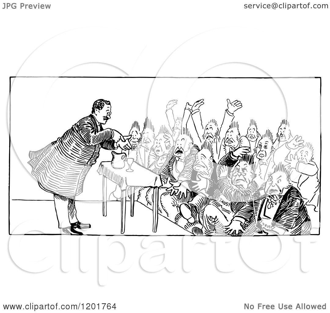 Clipart Of A Vintage Black And White Crowd And Speaker 2